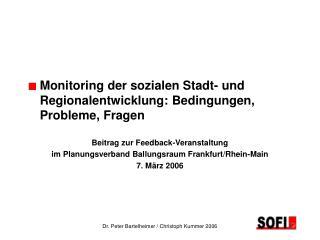 Monitoring der sozialen Stadt- und   Regionalentwicklung: Bedingungen,   Probleme, Fragen
