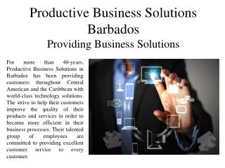 Productive Business Solutions Barbados Providing Business Solutions
