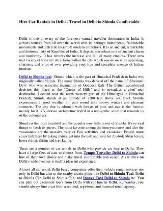 Delhi to Shimla Taxi | Taxi Delhi to Shimla