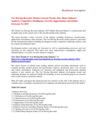 Car Driving Recorder Market to 2015: Drivers, Trends & Growth Analysis By Radiant Insights