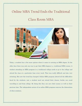 Online MBA trend ends the traditional class room MBA