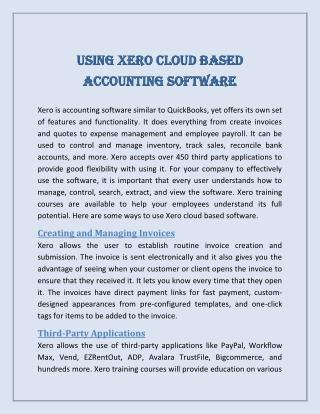 Using Xero Cloud Based Accounting Software