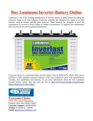 Buy Luminous Inverter Battery Online
