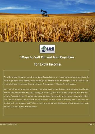 Ways to Sell Oil and Gas Royalties for Extra Income