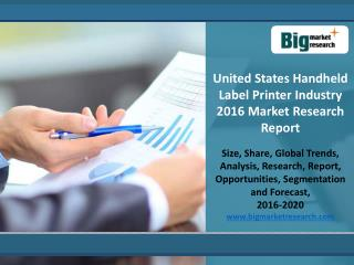 Analysis On Handheld Label Printer Industry Market  Trends 2020