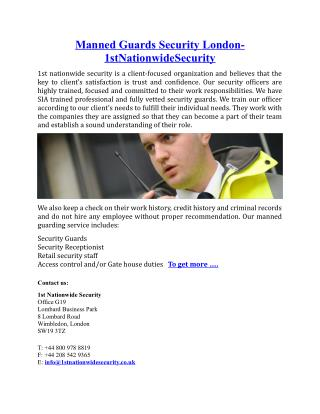 Manned Guards Security London- 1stNationwideSecurity