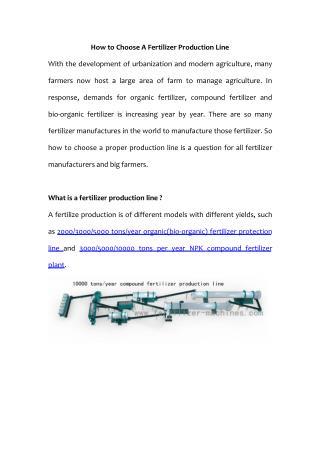 Key Factors In Choosing A Fertilizer Production Line