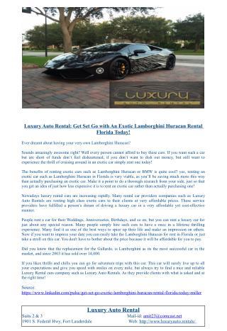 Luxury Auto Rental: Get Set Go with An Exotic Lamborghini Huracan Rental Florida Today!