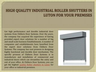 High Quality Industrial Roller Shutters In Luton For Your Premises