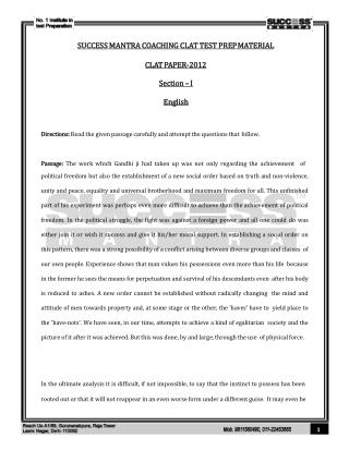 Clat 2012 Question Paper With Answer