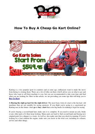 How To Buy A Cheap Go Kart Online?