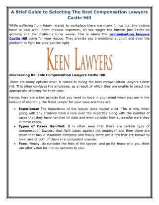 A Brief Guide to Selecting The Best Compensation Lawyers Castle Hills