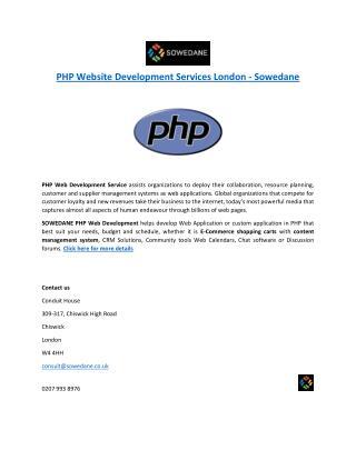 PHP Website Development Services London - Sowedane