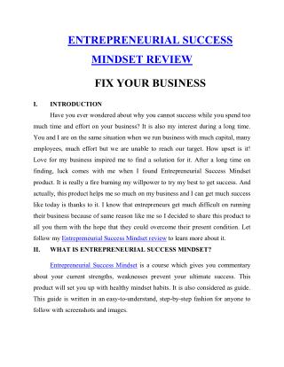 ENTREPRENEURIAL SUCCESS MINDSET REVIEW FIX YOUR BUSINESS