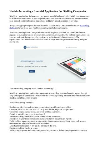Nimble Accounting - Essential Application For Staffing Companies