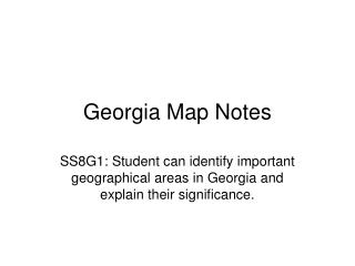 Georgia Map Notes