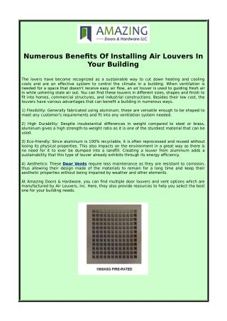 Numerous Benefits Of Installing Air Louvers In Your Building