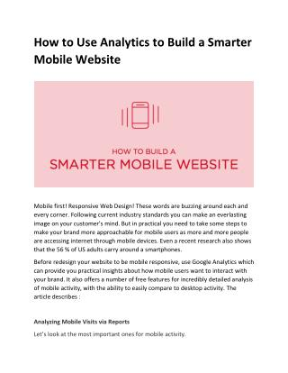 How to Use Analytics to Build a Smarter Mobile Website