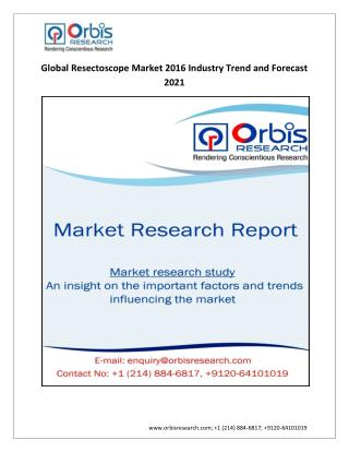 Global Resectoscope  Industry 2016  Research Report