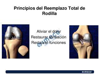 Principios del Reemplazo Total de Rodilla