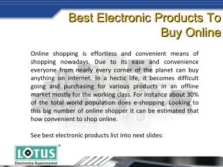 Leading Online Electronic Shopping Store | Lotus Electronics