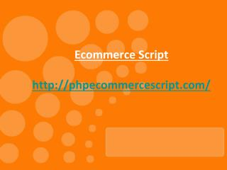 Open Source Ecommerce Script