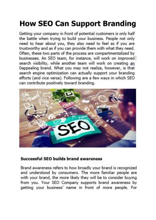 How SEO Can Support Branding