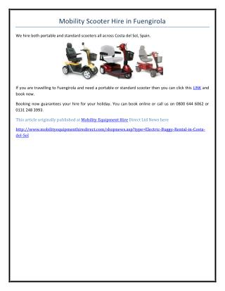 Mobility Scooter Hire in Fuengirola
