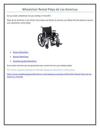 Wheelchair Rental Playa de las Americas