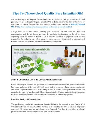 Tips To Choose Good Quality Pure Essential Oils!