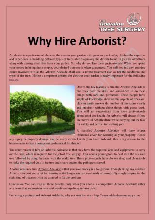 Why Hire Arborist