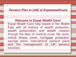 Pension Plan UAE, Dubai, Abu Dhabi | Corporate Pension Plan UAE, Dubai, Abu Dhabi