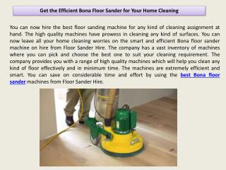 Get the Efficient Bona Floor Sander for Your Home Cleaning