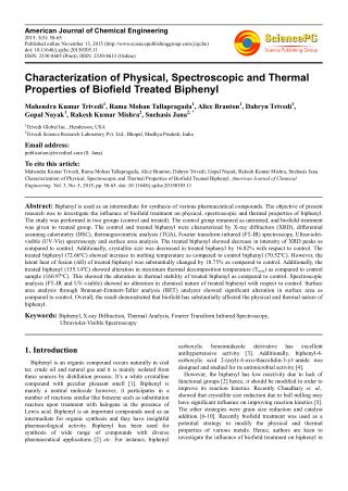 Characterization of Physical, Spectroscopic and Thermal Properties of Biofield Treated Biphenyl