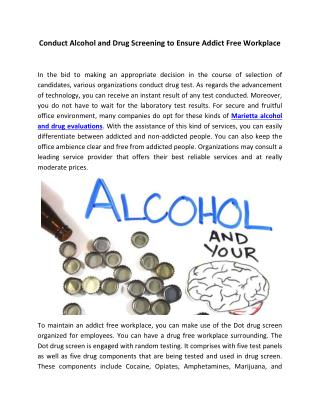 Conduct Alcohol and Drug Screening to Ensure Addict Free Workplace