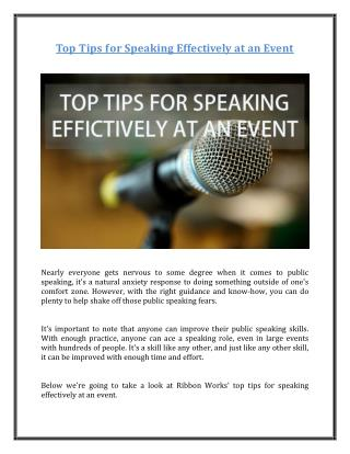 Top Tips for Speaking Effectively at an Event
