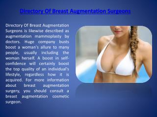 Directory Of Breast Augmentation Surgeons