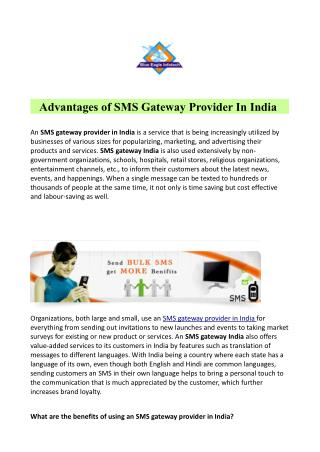 Advantages of SMS Gateway Provider In India