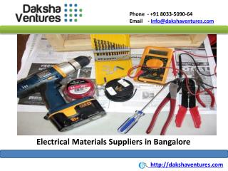 Electrical Materials Suppliers in Bangalore,India