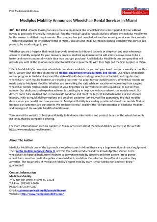 Mediplus Mobility Announces Wheelchair Rental Services in Miami