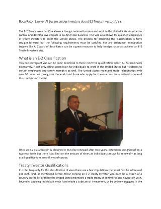 Boca Raton Lawyer Al Zucaro guides investors about E2 Treaty Investors Visa.