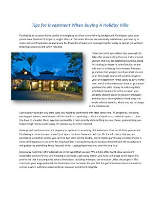 Tips for Investment When Buying A Holiday Villa