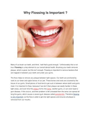 Why flossing is important ?