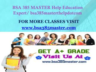 BSA 385 MASTER Help Education Expert/ bsa385masterthelpdotcom