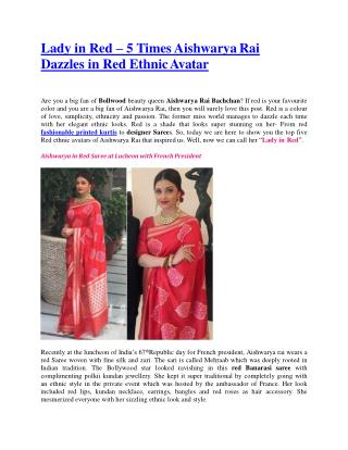 Lady in Red � 5 Times Aishwarya Rai Dazzles in Red Ethnic Avatar