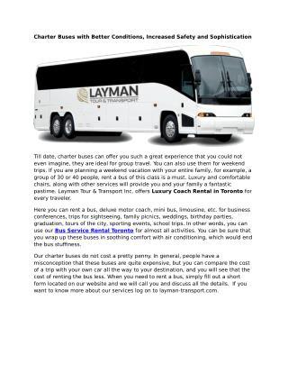 Bus Service Rental Toronto