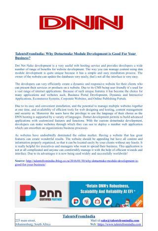 TalentsFromIndia: Why Dotnetnuke Module Development is Good For Your Business?