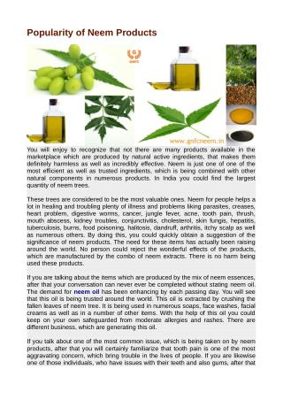Popularity of Neem Products