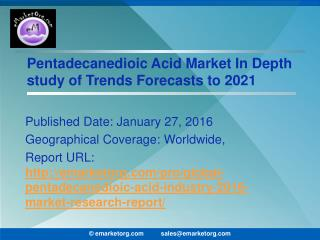 Pentadecanedioic Acid Market Comprehensive Analysis of Competitive landscape and  Forecasts to 2021