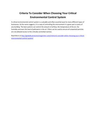 Criteria To Consider When Choosing Your Critical Environmental Control System